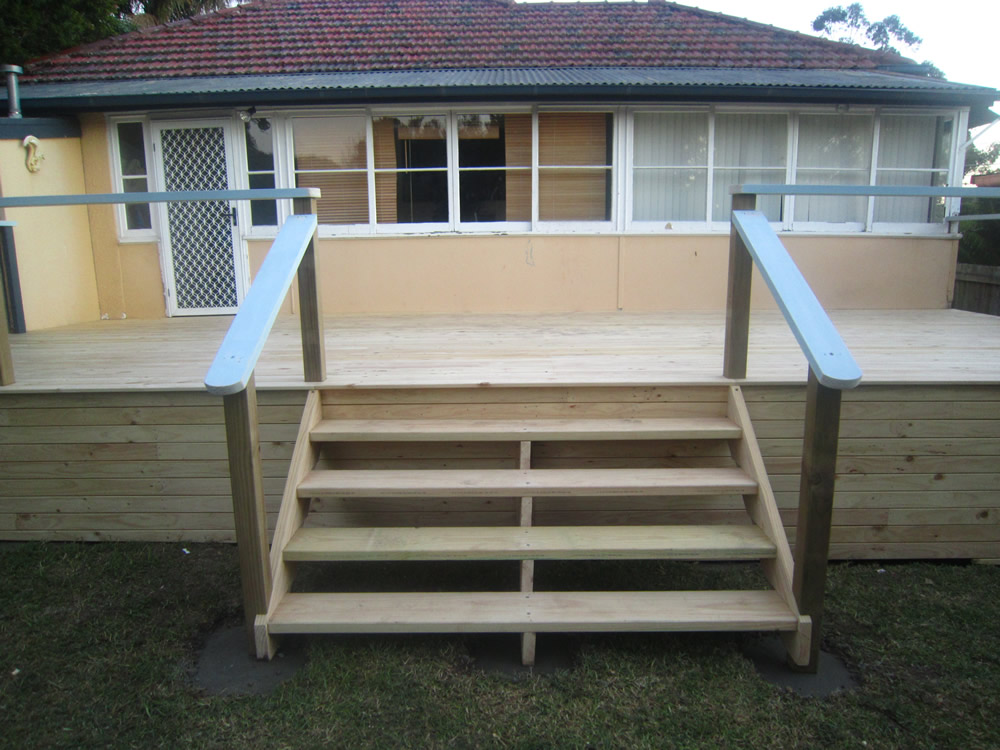 Merbau, Spotted gum, and Treated Pine decking are viable options for outdoor decking